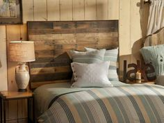 Bedroom, Small Spaces Rustic Bedroom Design With Unusual Reclaimed Wood Headboard And Gray Bed Cover Ideas ~ Unusual Headboards Rustic Bedroom Design, Wood Bedroom, Rustic Wall Decor, Home Decor Bedroom, Bedroom Ideas, Bedroom Furniture, Bedroom Small, Master Bedroom, Teak Furniture