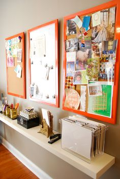 Display boards in the home office. Add a pop of color to the work space. #home #decor
