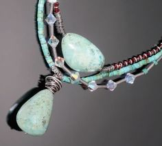turquoise, garnet,and sterling silver necklace by Ronna Sarvas Weltman - from Razzle Dazzle: Using Crystals in Wire Jewelry and the Latest from Swarovski - Jewelry Making Daily
