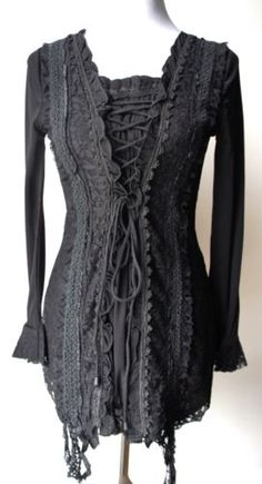 PRETTY-ANGEL-Goth-Victorian-Renaissance-Punk-Fairy-Gypsy-Sexy-BLACK-corset-tunic