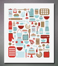 blue and red kitchen art Red Kitchen, Kitchen Colors, Turquoise Kitchen, Kitchen Design, Vintage Kitchen, Kitchen Stuff, Kitchen Interior, Kitchen Prints, Kitchen Artwork