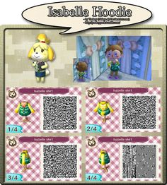 Isabelle Hoodie - QR Code by YookeyYook on DeviantArt Leaf Animals, Ac New Leaf, City Folk, Animal Crossing Qr Codes Clothes, All About Animals, Geek Stuff, Poster, Coding, Kids Rugs