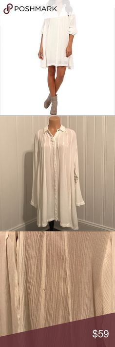 Free People Snap out of It White Button Down Tunic Free People Snap out of It White Button Down Tunic  A semi-sheer collared shirt crafted from featherweight threads is pleated and draped for a stylishly oversized fit.   Size - Small New with Tags  Please note -- there is a small hole on the front of the top (see pics). Also there is a stain on the top right shoulder. I do not know if it will come out.  Approx Measurements: Bust - 52in Length - 27in  If you wear it like a dress, you will…