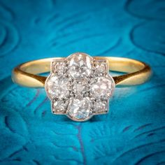 ART DECO DIAMOND CLUSTER RING 18CT GOLD PLATINUM CIRCA 1920 cover