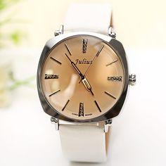 2016 New Korea Brand Julius Rhinestone Decorate Genuine Leather Strap Fashion Casual Ladies Quartz Wrist Watch Women Dress Watch - Online Shopping for Watches