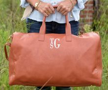 Shop our monogrammed Weekend  Tote bag featuring your monogram in your choice of 3 colors. A ladies upscale duffel bag can be used as a carry on bag or just a weekender tote.