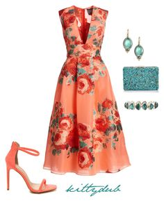 """Peach Sherbet"" by kittydub ❤ liked on Polyvore featuring Lela Rose, Sondra Roberts, Rene Escobar and Stephen Dweck"