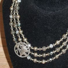 Necklace Silver Tone 3 Strands Beads Vintage Restyled