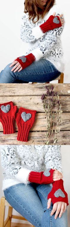 Heart Fingerless gloves . Knitting .  fashion . Girls  women . Valentines day . Love . Red . Winter accessoires . (28.90 USD) by gloveshop