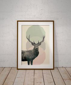 Deer Print Deer Poster Animal Print Woodlands Decor by PrintmyInk
