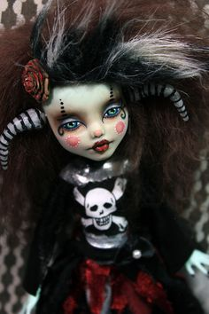 Vir GOTHUS Frankiestein Monster High Altered Art Custom Doll Repaint Emo Goth Gothic Horned Girl by Refabrications
