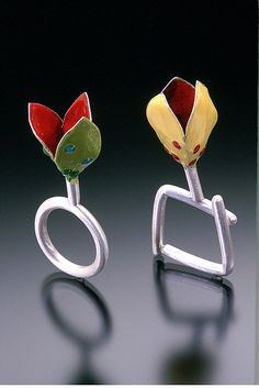 Green and Yellow Enamel Rings by Sarah Hood Jewelry, via Flickr
