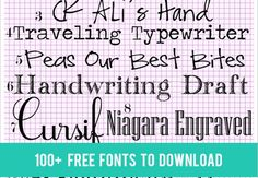 100 plus Free Fonts To Download