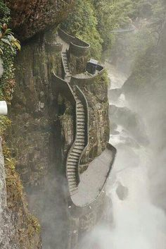 Pailon del Diablo Cascades, Ecuador! One of my favourite places to visit. The water looks like it is boiling