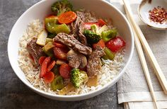 Sizzling Bison Steak Stir-Fry. A fresh, colorful way to serve a delicious bison cut, the Ribeye. Ginger, pepper and sesame oil bring garden vegetables to life and compliment the lean, tender strips of Bison.
