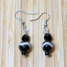Black earrings, black and tan striped beads Beaded Earrings, Handmade Jewelry, animal print earrings, handmade in the USA Sanibel Florida