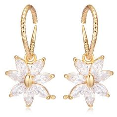 Rhinestoned Floral Drop Earrings (6.24 BAM) ❤ liked on Polyvore featuring jewelry, earrings, drop earrings, earring jewelry, flower drop earrings, blossom jewelry and golden earring