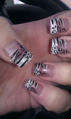 part 1- Leopard zebra nails french manicure pink base, white, black with silver glitter