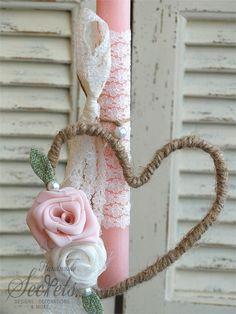 Ροζ χειροποίητη πασχαλινή λαμπάδα με καρδιά για κορίτσια, annassecret, Χειροποιητες μπομπονιερες γαμου, Χειροποιητες μπομπονιερες βαπτισης