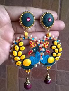 quilling peacock ear rings