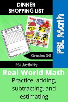 In this project-based learning (PBL) math activity students will face a real world situation and use local grocery store ads to budget and create a grocery shopping list. Adding, subtracting, and estimating/rounding are all practiced in this engaging activity. 3rd grade, 4th grade, 5th grade 3.NBT.A.1, 3.NBT.A.2, 3.OA.D.8, 4.NBT.3, 4.NBT.4, 4.OA.3, 5.NBT.A.4, 5.NBT.B.7 #pbl #adding #subtracting #estimating #realworldmath #mathreasoning Fifth Grade Math, Grade 3, Fourth Grade, Math Stations, Math Centers, Common Core Math Standards, Math Boards, Store Ads, Math Practices