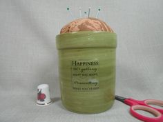 Pincushion Moss Green Terracotta Happiness is by NicuNeedles, $8.99