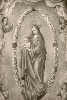 A 15th century painting of Our Lady of the Rosary in the Lazaro Galdiano museum in Madrid, Spain.