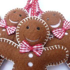 Gingerbread Man Trio - Felt Christmas Decorations | Devonly Crafts MISI Handmade Shop