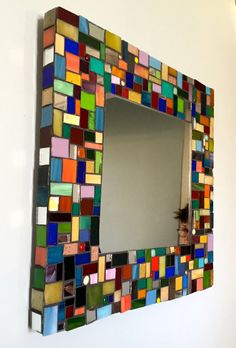 Art Glass For Sale - Mosaic mirror upcycled glass by Margaret Farratell at ArtsyHome Mosaic Wall Art, Mosaic Glass, Glass Art, Mirror Mosaic Tiles, Cut Glass, Stained Glass, Mosaic Crafts, Mosaic Projects, Mosaic Pictures