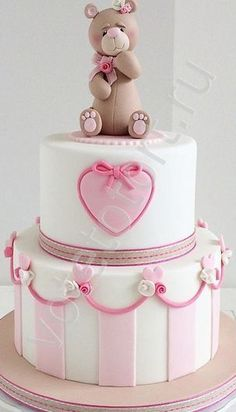 торт с мишкой - Google-Suche One Year Birthday Cake, Birthday Cake Girls, Birthday Cakes, Celebration Cakes, Food And Drink, Baby Shower, Baby Cakes, Baking Ideas, Diana