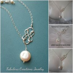 Sister Necklace, Infinity Necklace, Lariat, Y Necklace, Gift for Sister in Law, Three Infinity Together,Silver Infinity and Pearl Necklace,