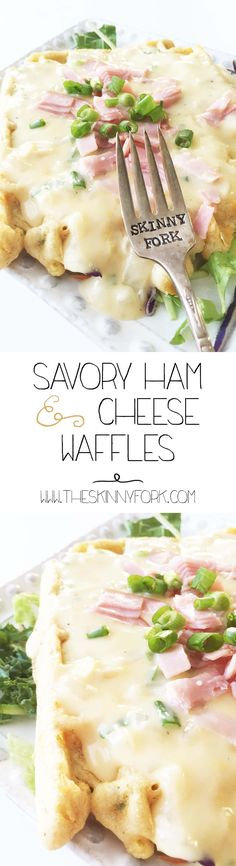 Savory Ham & Cheese Cornmeal Waffles - Healthified comfort food at it's finest! Enjoy this HUGE waffle for well under 300 calories! #BHSmokeHouseRules #Ad @BoarsHead
