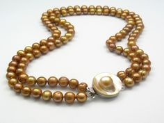 Double-strand Bronze Pearl Necklace with Blister pearl Clasp fashion jewellery