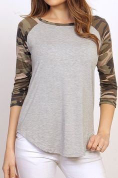 Camouflage Raglan Top