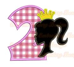 Barbie  nd Birthday Embroidery Applique Design