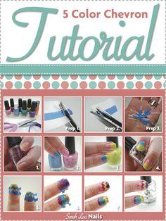 5 Color Chevron Tutorial | Sarah Lou Nails