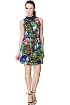 Blue Sleeveless Tigrina Floral Belt Dress