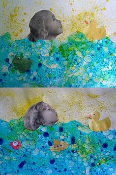 Bubble prints (bubble musical chairs from Cassie Stephens? Group Art Projects, Fall Art Projects, Art Drawings For Kids, Art For Kids, Atelier Photo, Classe D'art, Bubble Art, Bubble Painting, Kids Watercolor