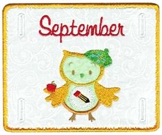 Monthly Owl Plaque, September - 5x7 | Fall | Machine Embroidery Designs | SWAKembroidery.com Sealed With A Stitch