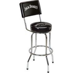 Jack Daniels Swivel Bar Stool with Backrest — Black | www.kotulas.com | Free Shipping