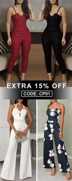 Code: to Get Extra Off New ArrivalJumpsuit Collection - Mode - Mode Outfits, Trendy Outfits, Prom Outfits, Look Fashion, Womens Fashion, Fashion Trends, Vetement Fashion, Moda Vintage, Jumpsuits For Women