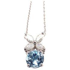 TIFFANY and CO Victoria Diamond Aquamarine Platinum Necklace