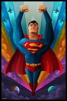 Superman from Featured Artist: The Retro-Futuristic Works of James White Artwork Superman, Arte Do Superman, Poster Superman, Superman Stuff, Superman Comic, James White, Comic Book Heroes, Comic Books Art, Comic Art