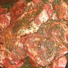 The Best Marinade in Existence.....Ingredients    1/3 cup soy sauce   1/2 cup olive oil   1/3 cup fresh lemon juice   1/4 cup Worcestershire sauce   1 1/2 tablespoons garlic powder   3 tablespoons dried basil   1 teaspoon ground pepper: Used this with pork chops and it was awesome. Makes a ton - Probably enough for 8-10 chops.