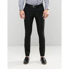 ASOS Skinny Suit Trousers In Black ($40) ❤ liked on Polyvore featuring men's fashion, men's clothing, men's pants, men's dress pants, black, mens stretch dress pants, mens skinny pants, mens woven pants, mens stretch pants and mens polyester pants