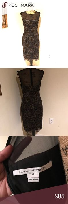 Authentic Diane Von  Furstenberg black dress Elegant black dress with delicate lace overlay. DVF isn't only famous for her wrap dresses, this dress worn at a friend's party had reaped a lot of compliments. Worn only once. Diane Von Furstenberg Dresses Midi