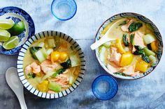 coconut-salmon curry with bok choy and yellow pepper