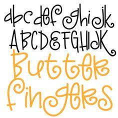 Silhouette Design Store: Pn Butter Fingers - Fonts - Ideas of Fonts - Hand Lettering Alphabet, Doodle Lettering, Creative Lettering, Lettering Styles, Brush Lettering, Fun Fonts Alphabet, Cute Fonts, Fancy Fonts, Silhouette Design