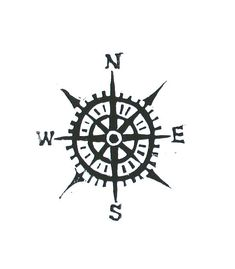 Compass linocut print  Cardinal directions от thebigharumph