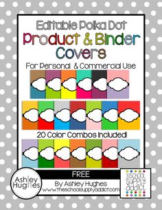 {free} Editable Polka Dot Product & Binder Covers!